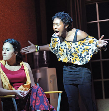 Anna Mateo and Cynthia Erivo in I Was Looking at the Ceiling and Then I Saw the Sky at Theatre Royal Stratford East in 2010. Photo: Tristram Kenton