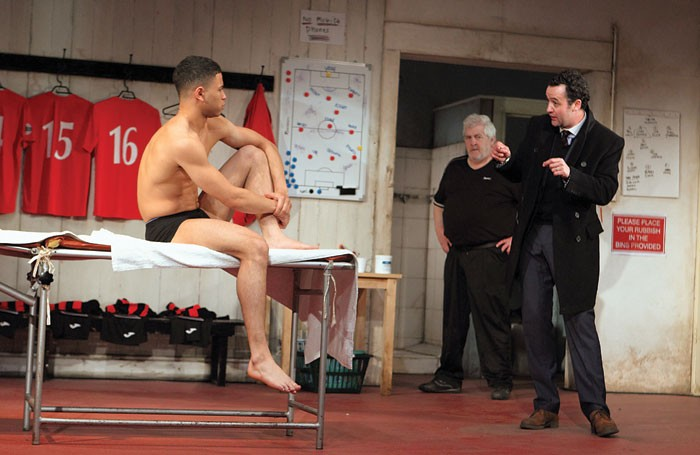 Calvin Demba, Peter Wight and Daniel Mays in The Red Lion. Photo: Catherine Ashmore