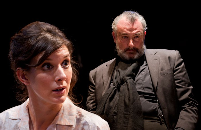 Louise Ford and John Hodgkinson in Orson's Shadow at the Southwark Playhouse. Photo: Simon Annand