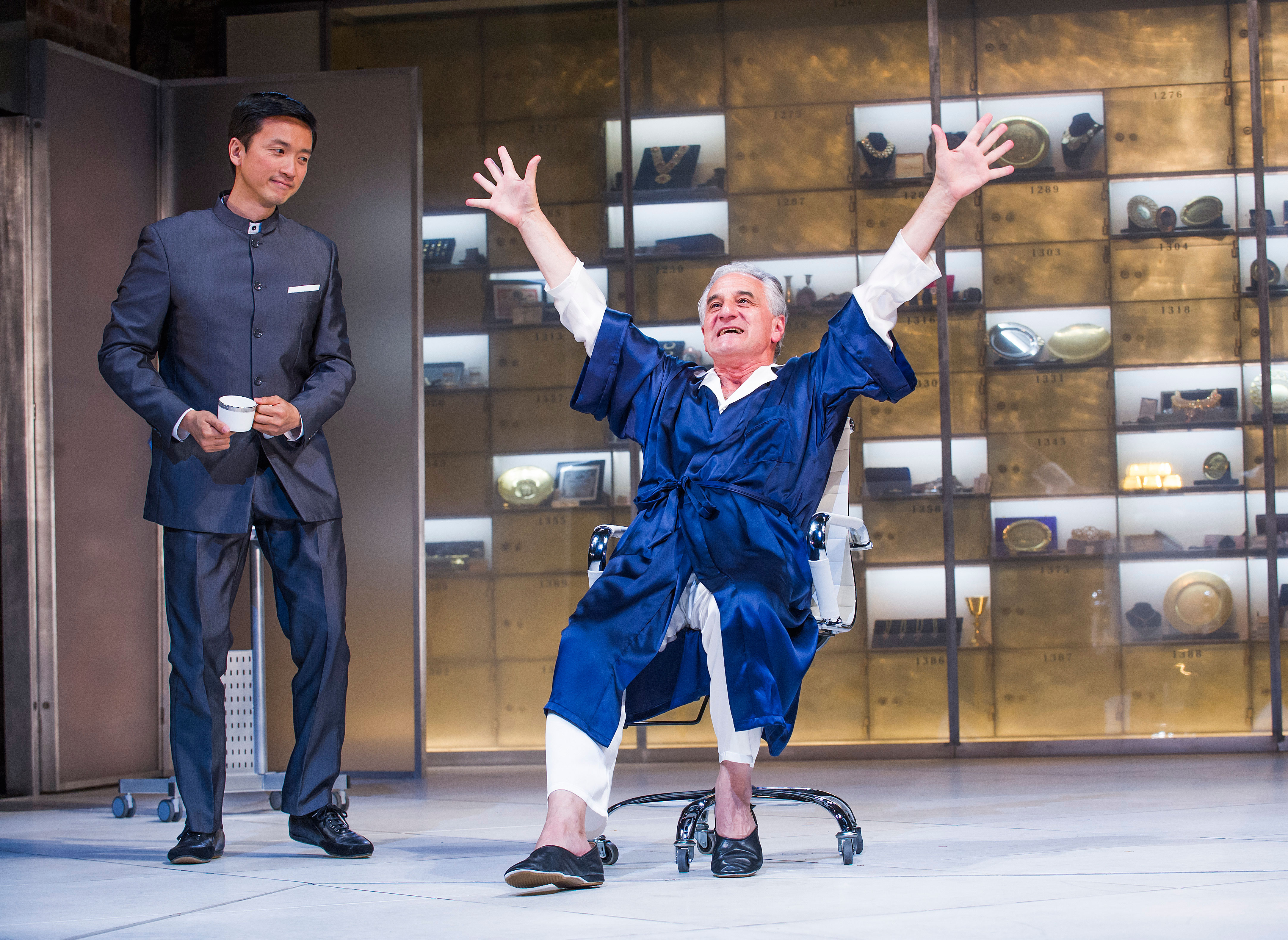 Orion Lee and Henry Goodman in Volpone by Ben Jonson at the Swan Theatre Picture: Tristram Kenton