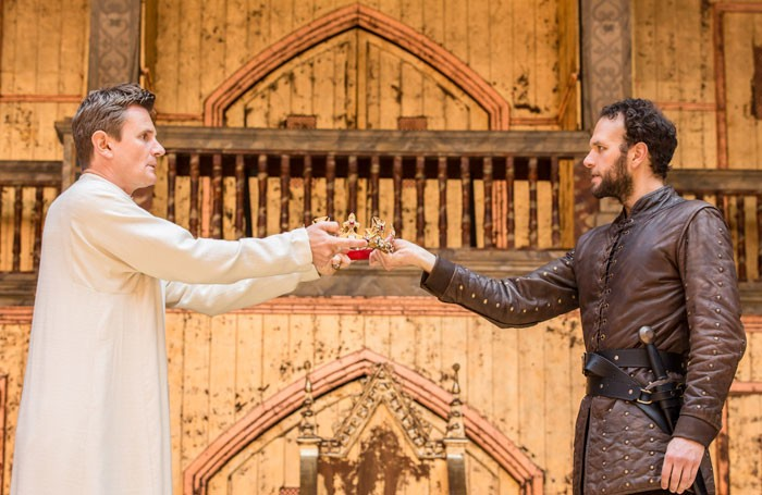 Charles Edwards and David Sturzaker in Richard II at Shakespeare's Globe. Photo: Johan Persson
