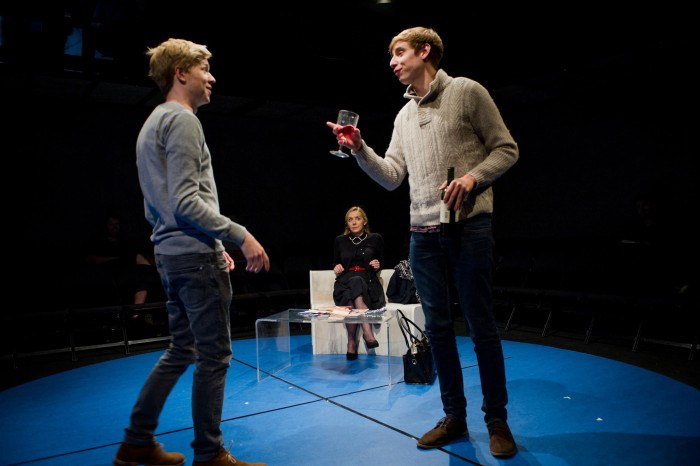 Timothy George, Sally George and Shaun Kitchener in Positive at the Park Theatre. Photo: Robert Workman