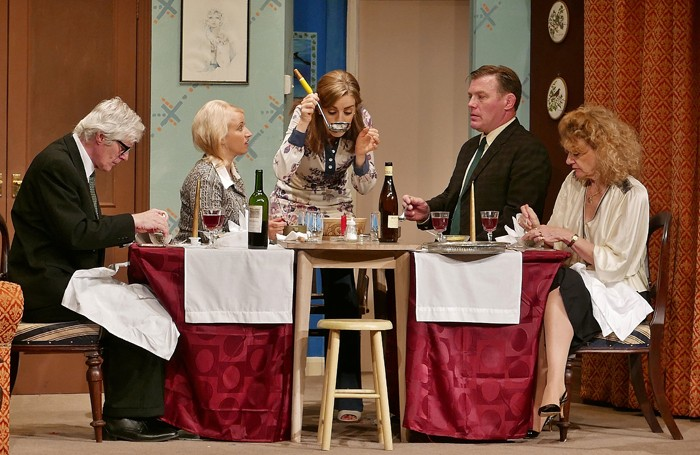 (from left to right) Michael Shaw, Rosanna Miles, Kate Middleton, Rick Savery and Eliza McClelland in How the Other Half Loves