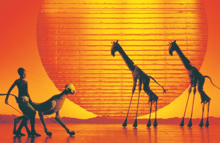 The Lion King: the 18ft giraffes are operated by actors on stilts. Photo: Catherine Ashmore