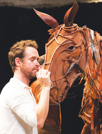 Jimmy Grimes with Joey from the National Theatre's War Horse. Photo: Ellie Kurttz
