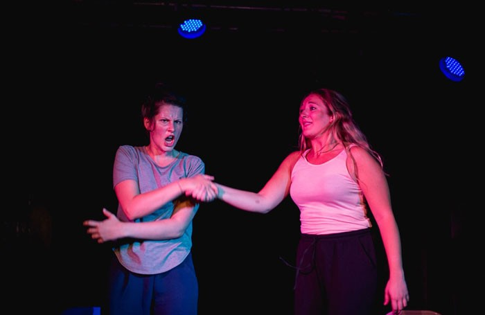 Rose Wardle and Lily Beck in Boxed In at Cellar, Pleasance Courtyard, Edinburgh. Photo: James Booth
