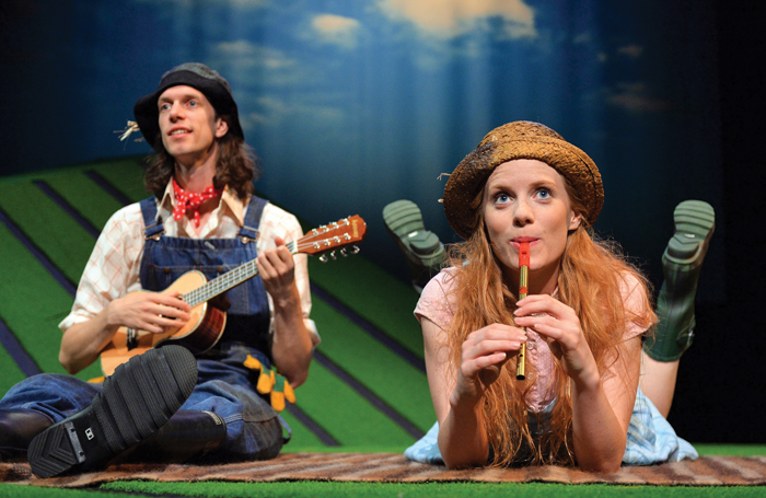 Edward Day and Muireann Bird in The Scarecrows' Wedding at Underbelly George Square, Edinburgh.Photo: Steve Ullathorne