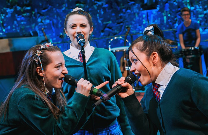 Kirsty-MacLaren, Melissa Allan and Frances Mayli McCann in Our Ladies of Perpetual Succour at the Traverse Theatre, Edinburgh. Photo: Mihaela Bodlovic