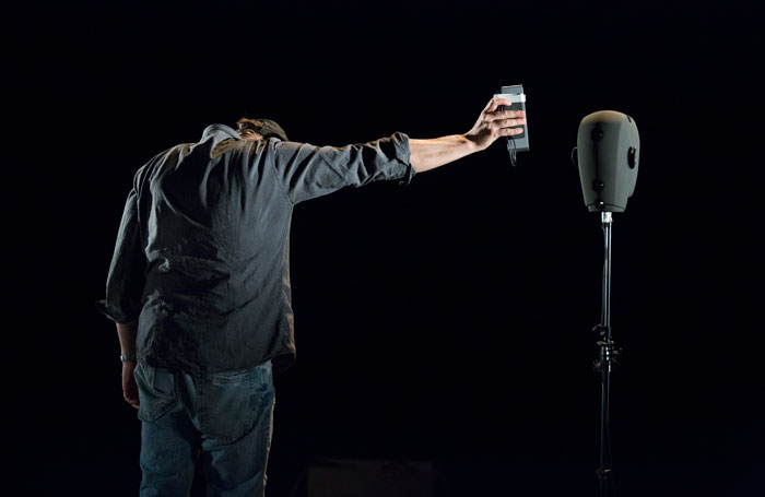 Simon McBurney in Complicite's The Encounter. Photo: Gianmarco Bresadola