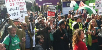 Last year's protest of The City, a show by Israeli state-funded theatre group Incubator Theatre, outside the Edinburgh Festival's Underbelly. The noisy 100-strong boycott quickly led to the show's closure