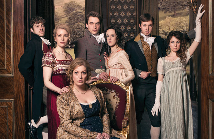 Austentatious! An Improvised Novel, featuring Amy Cooke-Hodgson, seated front, is a comedy play in the style of Jane Austen. Photo: Richard Davenport