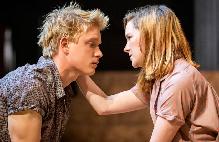 Freddie Fox as Romeo and Morfydd Clark as Juliet in Romeo and Juliet at the Crucible Theatre, Sheffield. Photo: Johan Persson
