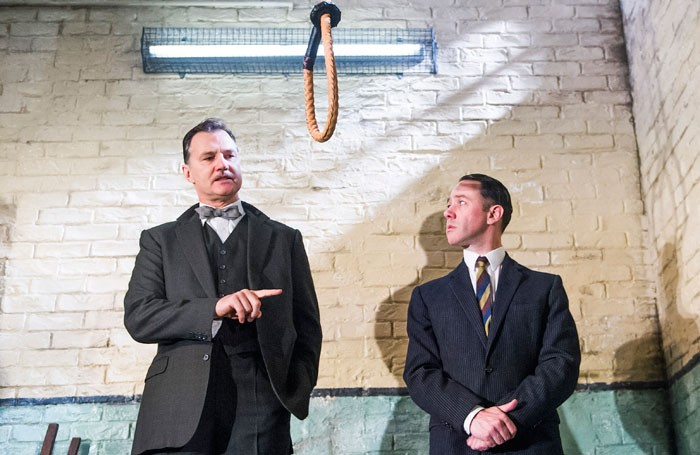 David Morrissey and Reece Shearsmith in Hangmen at the Jerwood Theatre Downstairs. Photo: Tristram Kenton