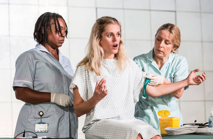 Jacqui Dubois, Denise Gough and Sally George in People, Places and Things at the Dorfman, National Theatre. Photo: Johan Persson