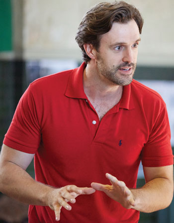 Xavier, pictured in rehearsals for The Wars of the Roses at the Rose Theatre in Kingston. Photo: Mark Douet