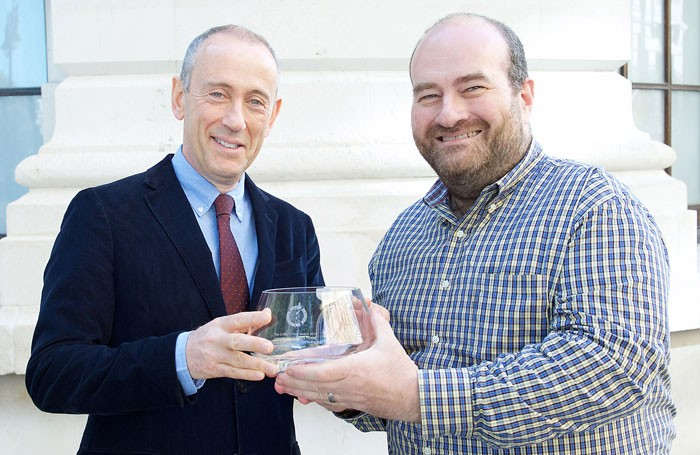 Mark Shenton (right) and Nick Hytner with the Critics' Circle award. Photo: Elliott Franks