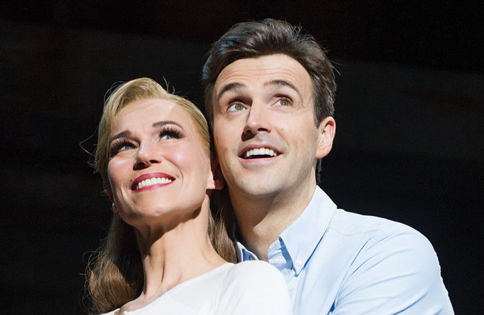 Michael Xavier with Joanna Riding in The Pajama Game at the Shaftesbury Theatre. Tristram Kenton