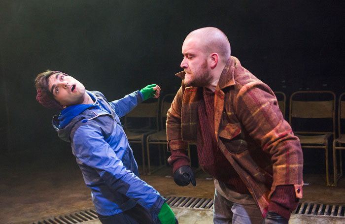 Sam Swann and Sean Rigby in Pomona at the National's Temporary Theatre. Photo: Tristram Kenton