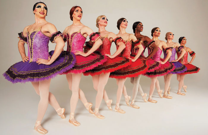 Les Ballets Trockadero de Monte Carlo's line-up for Paquita, part of the company's performance at the Sadler's Wells' Peacock Theatre this month. Photo: Zoran Jelenic