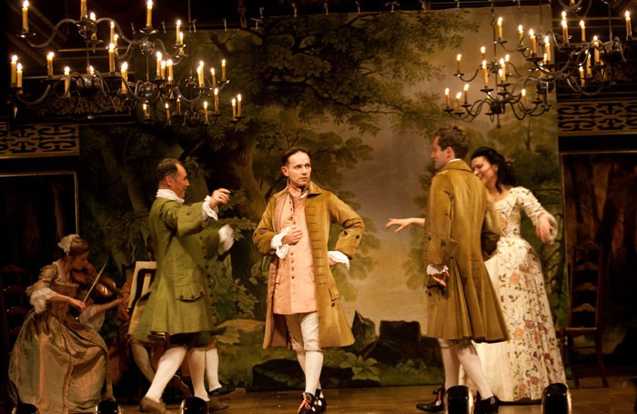 Mark Rylance, Iestyn Davies, Sam Crane and Melody Grove in Farinelli and the King at the Duke of York's theatre. Photo: Simon Annand