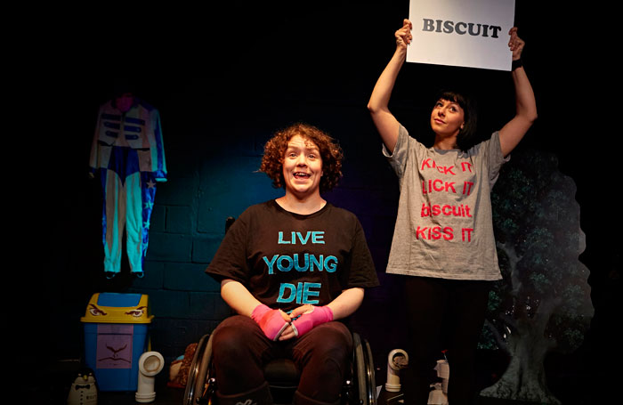 Jess Thom and Jess Mabel-Jones in Backstage in Biscuit Land. Photo: James Lyndsay
