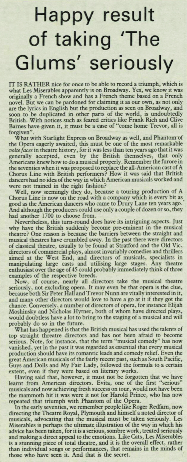 Les Miserables triumphs in the US, as reported in 1987