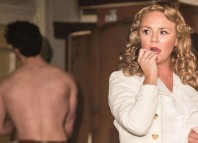 Stewart Clarke (Stanley Kowalski) and Charlie Brooks in A Streetcar Named Desire at Curve Leicester. Photo: Manuel Harlan