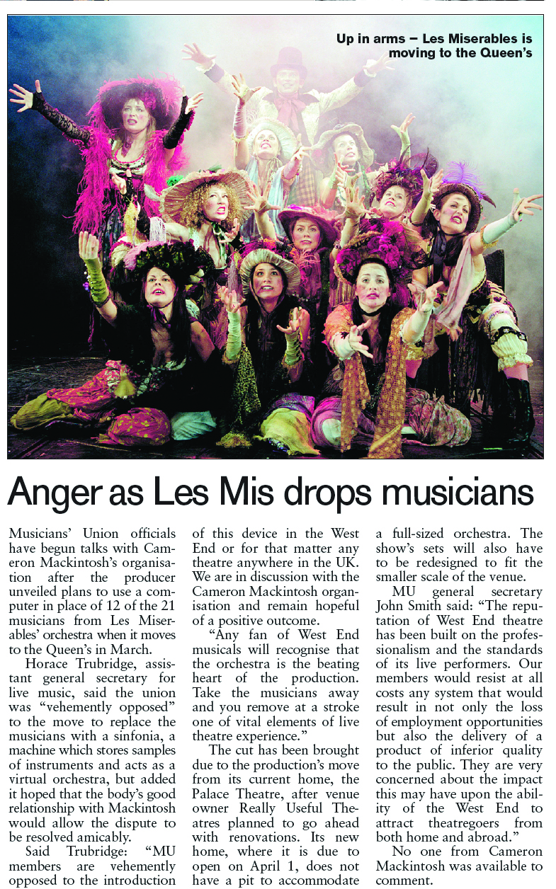 Les Miserables Anger as musicians dropped Jan 22 2004