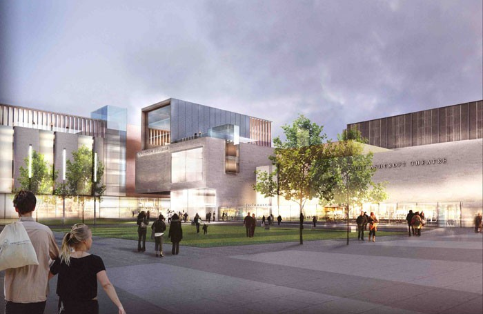 Artist's impression of proposed redevelopment of Fairfield Halls and College Green