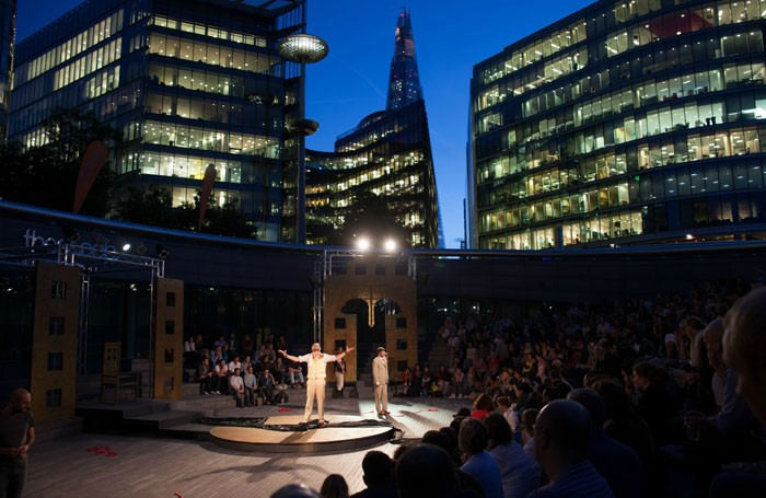 First time theatre goers enjoy Phil Willmott's production of Oedipus at the Scoop. Photo: Orla Brahammar