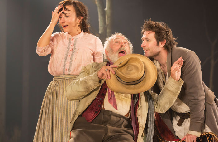 Jade Williams, Nicholas Day and James McArdle in Platonov from Chichester Festival Theatre. Photo: Johan Persson