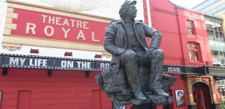 Joan Littlewood sculpture by Theatre Royal Stratford East, London. Photo: Robert Day