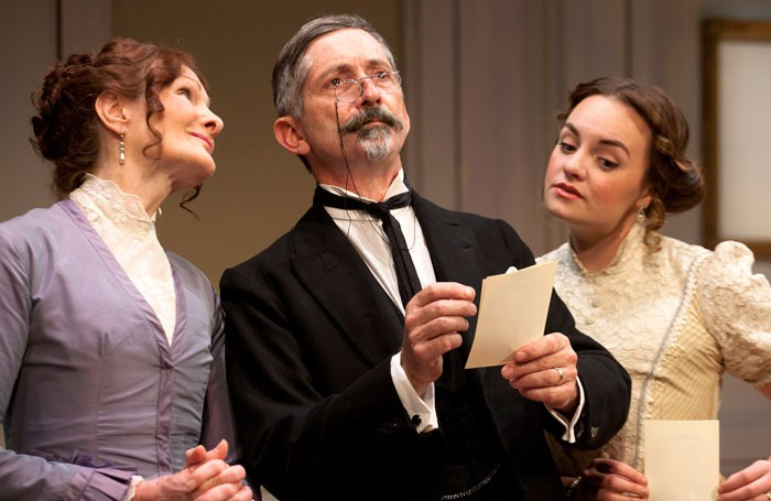 Nicola Sloane, Gregory Gudgeon and Charlotte Wakefield in Monsieur Popular at the Ustinov Studio, Bath. Photo: Simon Annand