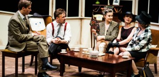 Millin Thomas, Sam Gannon, Laura Trundle, Lucy Peacock and Casey Jay Andrews in Pygmalion at Greenwich Theatre