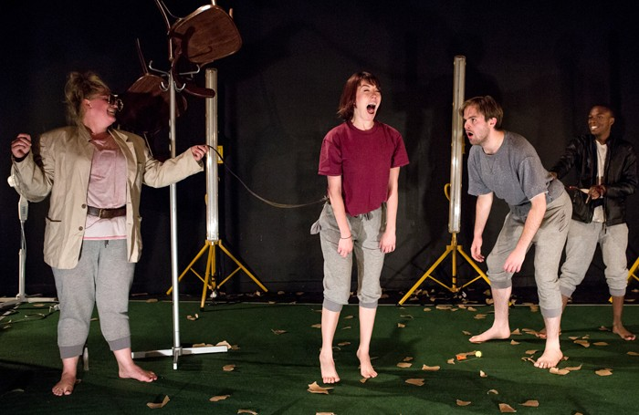 Scene from Dog Show by Kandinsky Theatre at the New Diorama Theatre, London. Photo: Richard Davenport