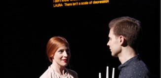 Rosalie Craig and Samuel Barnett read an extract from Moira Buffini's Dinner as part of the Stagetext caption testing. Photo: Heather Judge
