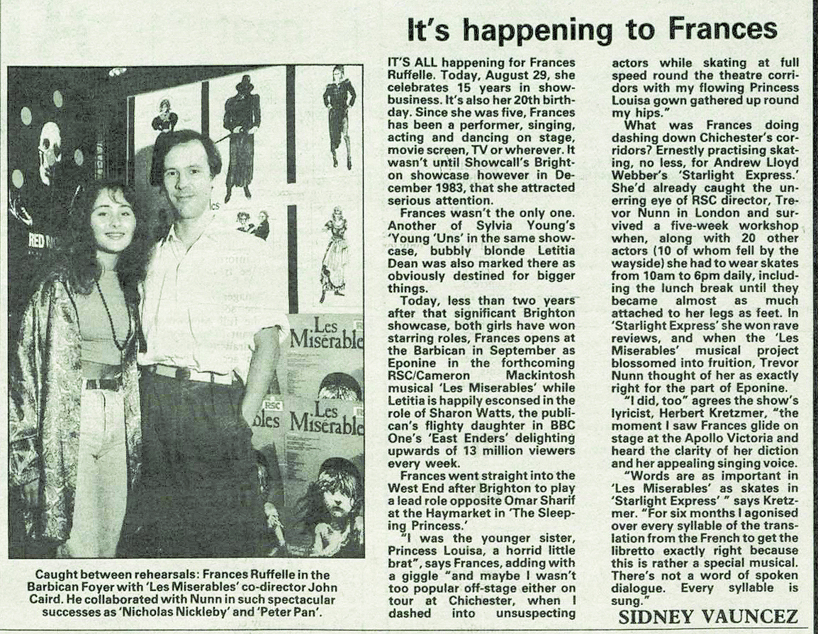 An article on original cast member Frances Ruffelle on August 29, 1985