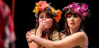 Sarah Ovens and Katie Elin-Salt in The Comedy of Errors at the National Theatre. Photo: Richard Davenport