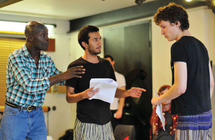 Two RADA students taking direction during a workshop