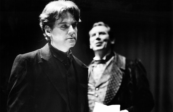 Branagh with Richard Easton in Derek Jacobi's Hamlet. Photo: Birmingham Repertory Theatre