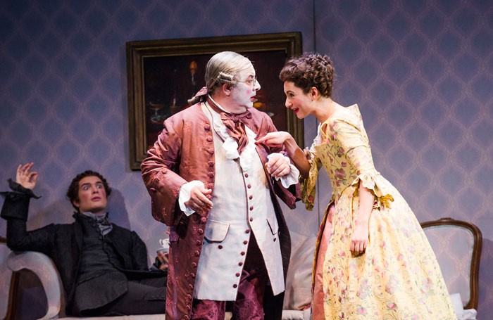John Brancy, Jose Fardilha and Eliana Pretorian in Don Pasquale at Glyndebourne. Photo: Tristram Kenton