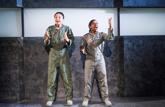 Charmaine Wombwell and Nadia Nadarajah in Grounded at the Park Theatre. Photo: Tristram Kenton
