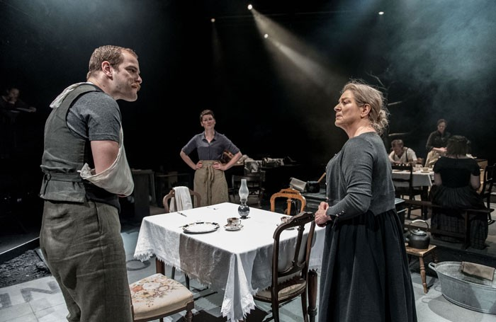 Matthew Barker, Josie Walker and Susan Brown in Husbands and Sons at the Dorfman, National Theatre, London. Photo: Manuel Harlan