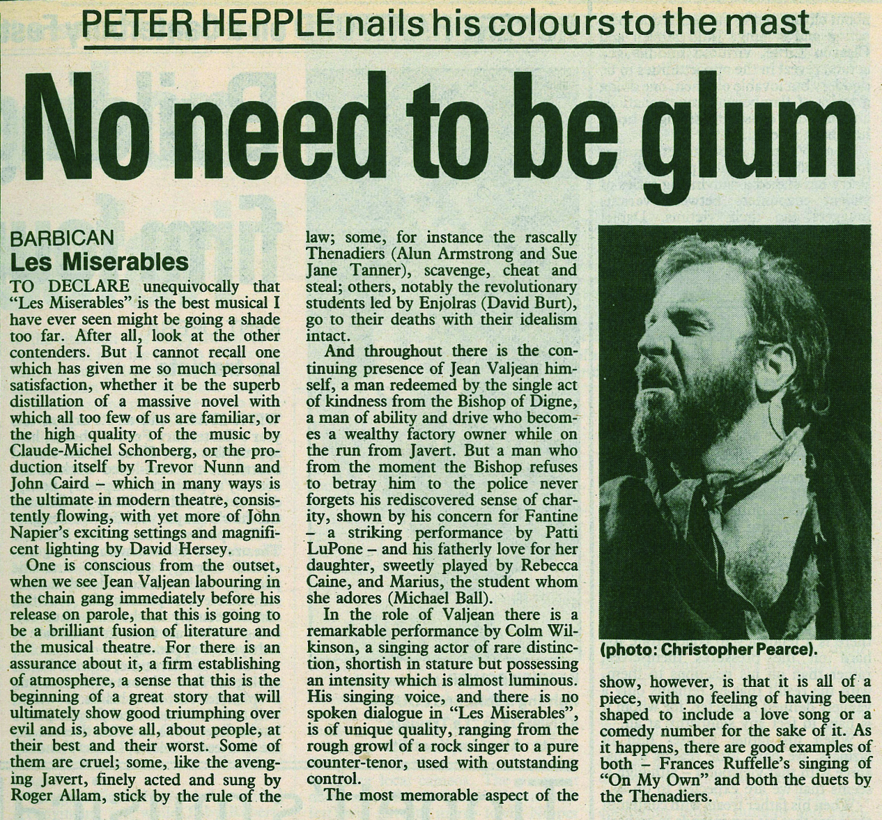 The Stage's original review of Les Mis – October 17, 1985