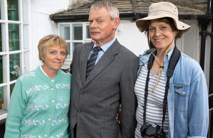 Selina Cadell with Martin Clunes and Sigourney Weaver on the set of Doc Martin