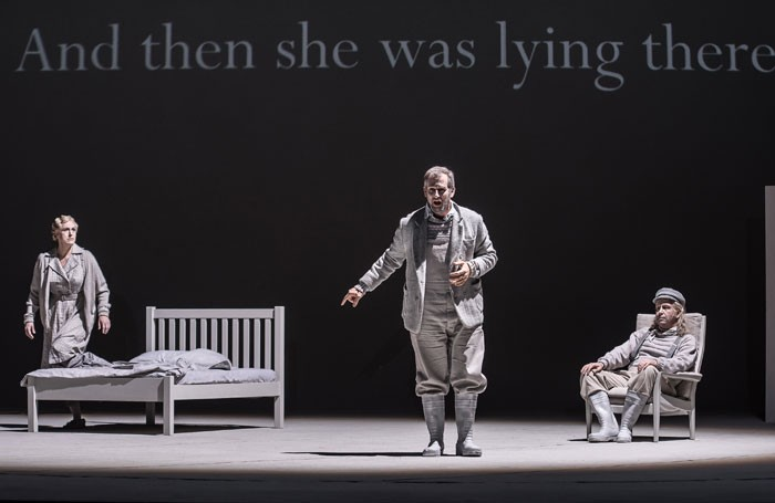Helena Rasker, Christoph Pohl and Will Hartmann in Morgen Und Abend at the Royal Opera House. Photo: Clive Barda
