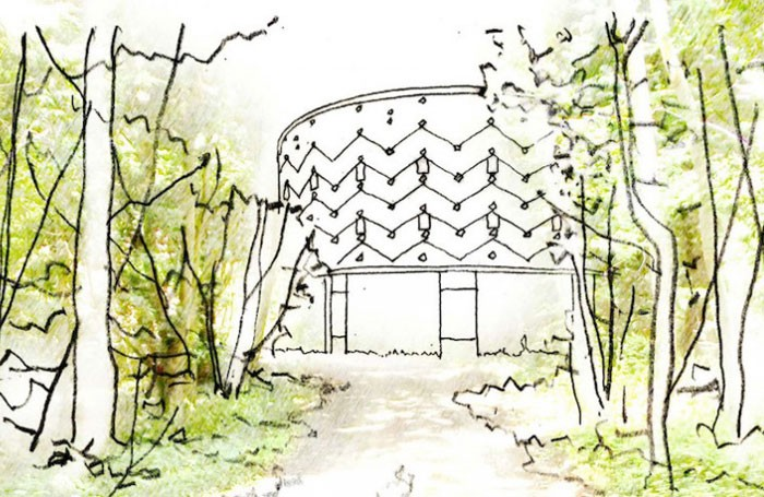 Architect's impression of Theatre in the Woods, Grange Park Opera's new Surrey home