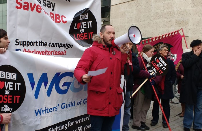 Bertie Carvel speaks at the protest outside Broadcasting House. Photo: David Hutchison