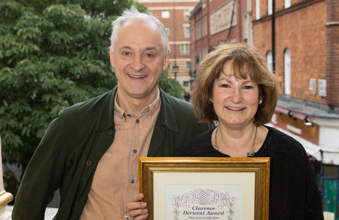 Malcolm Sinclair presenting Deborah Findlay with her Clarence Derwent Award. Photo: Phil Adams