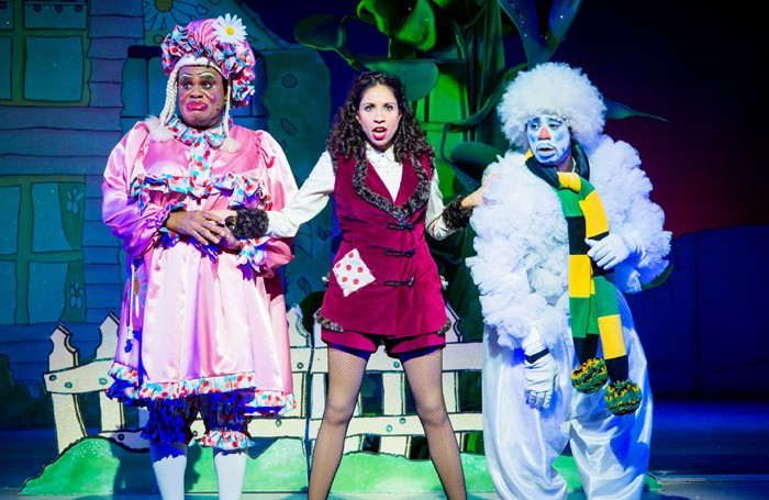 Clive Rowe, Debbie Kurup and Kat B in Jack and the Beanstalk at Hackney Empire. Photo: Robert Workman